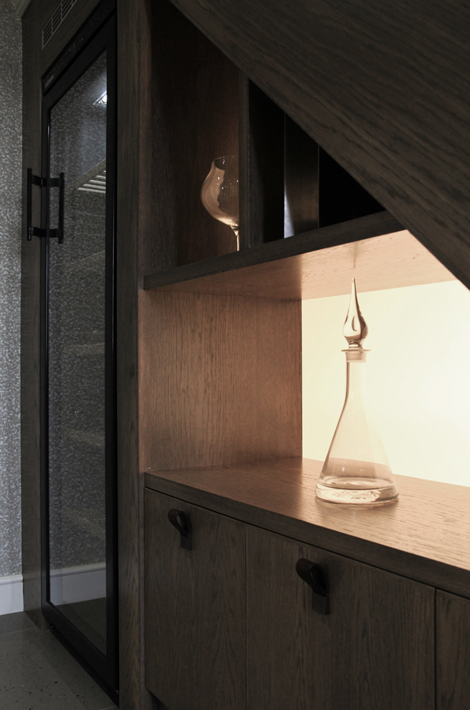 Bespoke hallway storage and wine unit by Saal Design