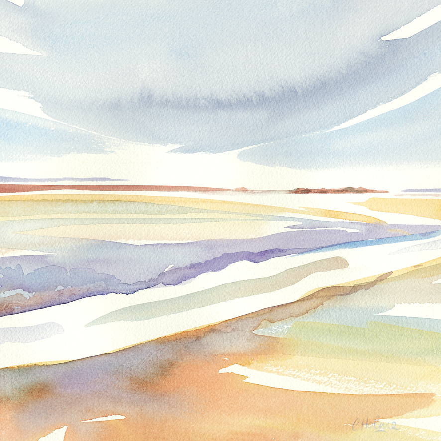 Christine Holme - August sees the air blowing through the colours of West Kirby and surrounding shoreline with this light and inviting watercolour interpretation