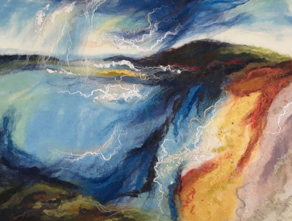 Shorelines. - Whilst the cold weather takes a hold we can at least look forward to the stunning, bright and engaging work by Elaine Adams. Starting on the 1st March 2018, this new body of work will be on show throughout the month.