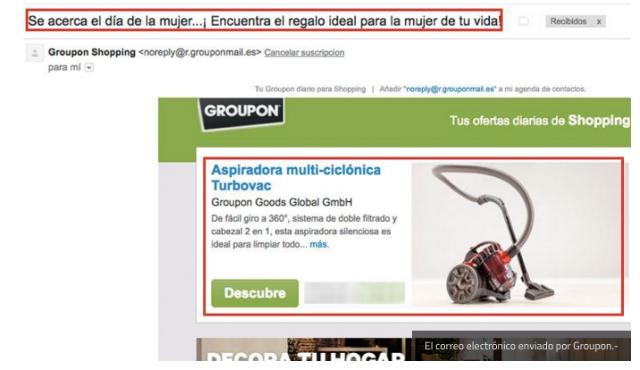 Mailing de Groupon.es