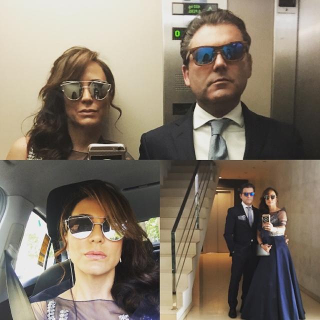 Gafas de sol modernas con atuendo pomposo