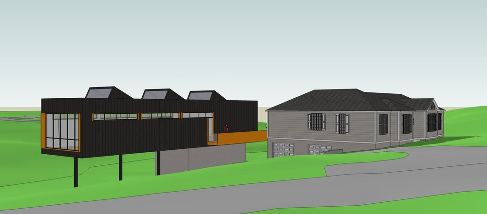 planning stages - CAD rendering of new studio addition off the back of the house.