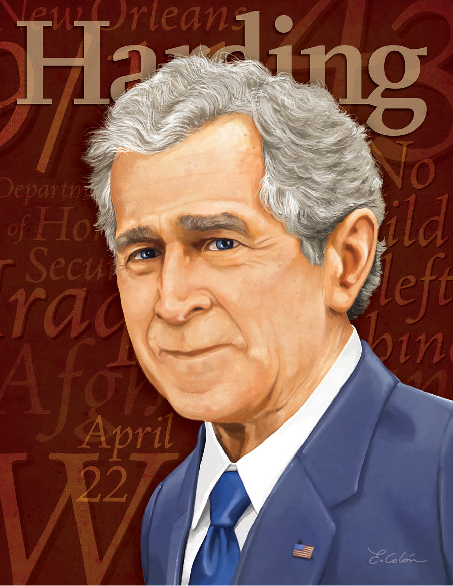 George W. Bush illustration, Harding Magazine