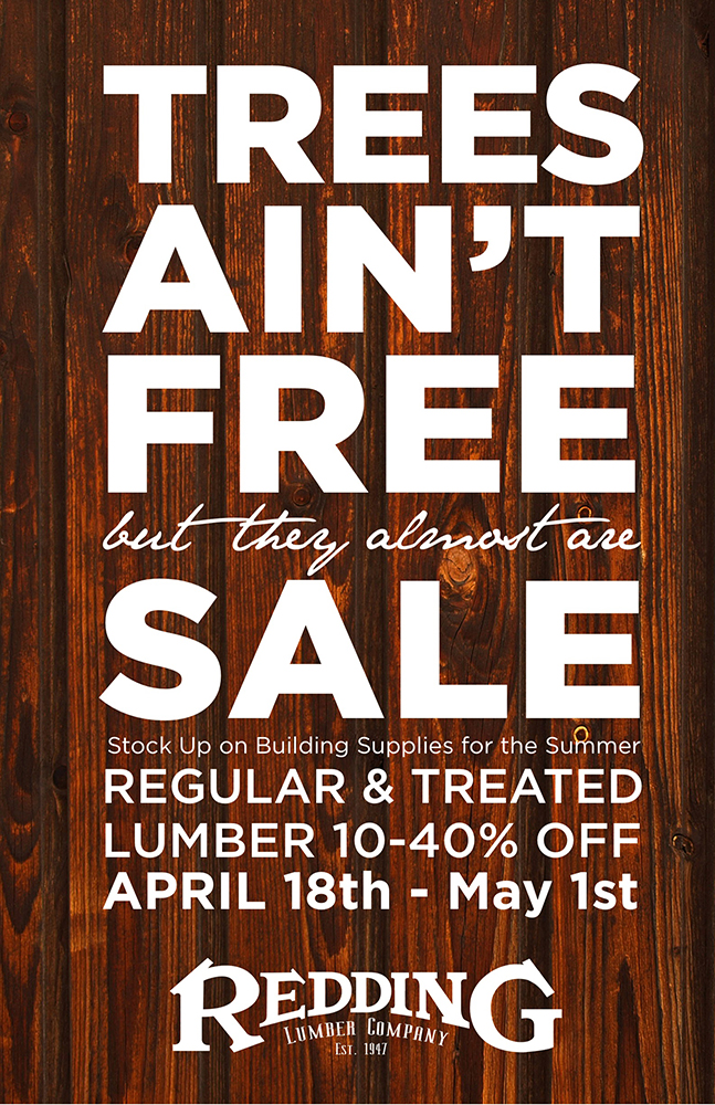 ▲  Redding Lumber Co. advertising poster, J. Adsit