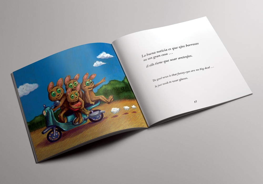 Section from the   Ojos Borrosos/Fuzzy Eyes  bilingual picture book.