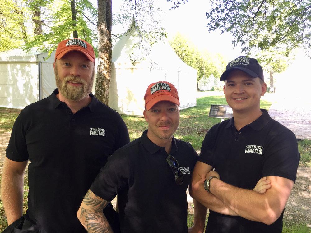 Från vänster: Johan Åkerman - projektsäljare, Patric Dalfjärd - projektsäljare och Robin Norlén -projektledare på Swedish Game Fair.