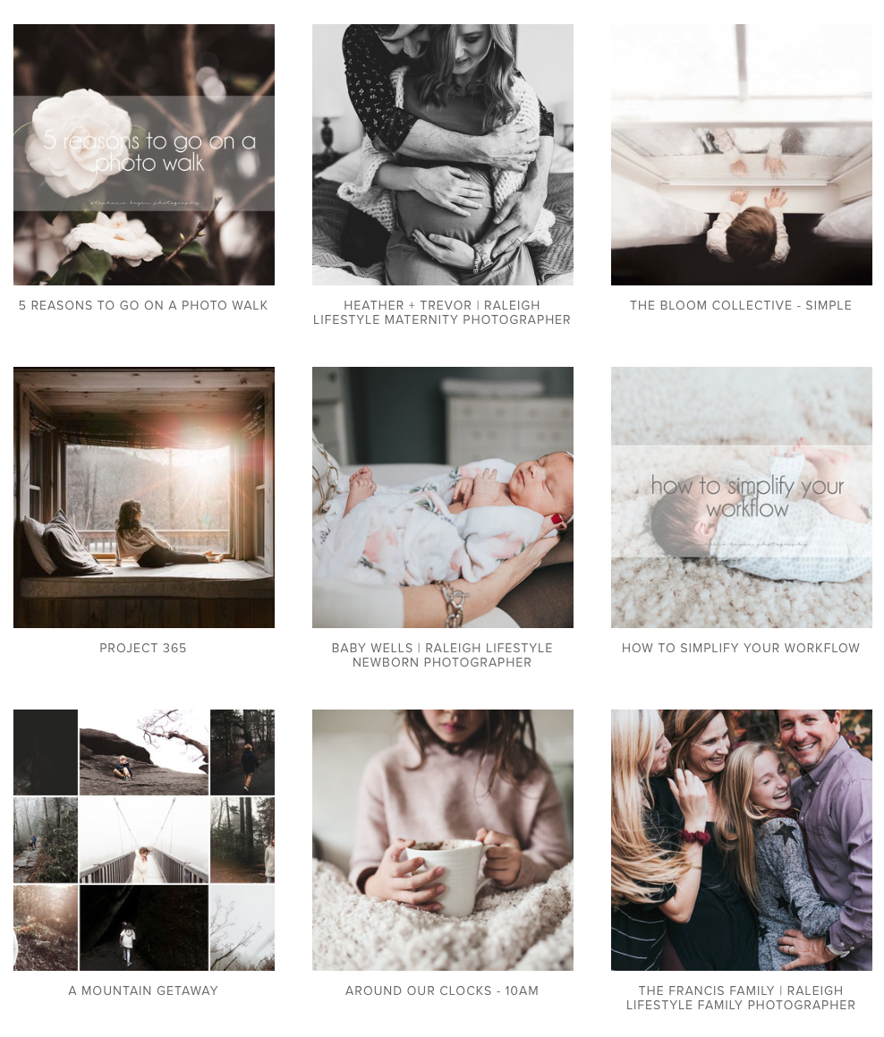 Stephanie Bryan Photography - Squarespace tips