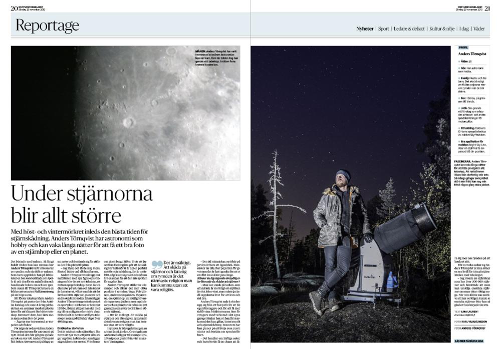 Reportage om stjärnskådning. Publicerat i  HBL  29 november 2015. Foton  Karl Vilhjálmsson  och Anders Törnqvist (bilden av månen).