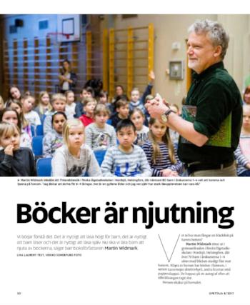 Intervju med författaren Martin Widmark. I tidningen  Opettaja  8/2017.