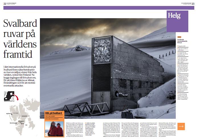 Två reportage från Svalbard, vilka publicerades i Hufvudstadsbladet våren 2018. Den första delen ( När koldammet  lagt sig, 18.4.2018, handlade om omställningen efter kolindustrin, den andra  (Svalbard ruvar på världens framtid , 22.4.2018) om det globala frövalvet.