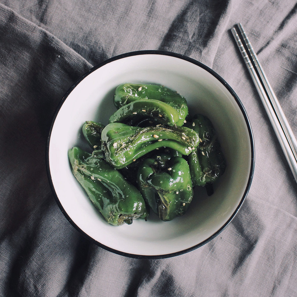 Padrón peppers with a sesame twist