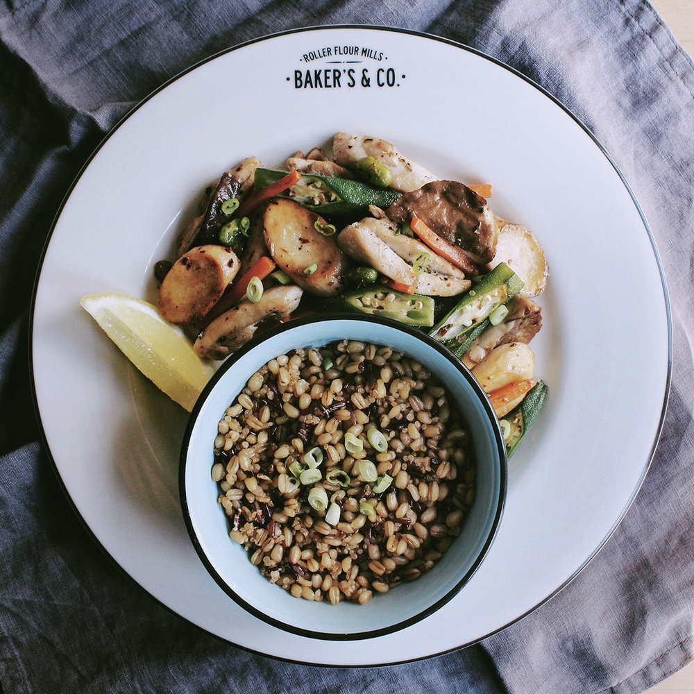 Chicken with okra, carrot, mushroom, edamame and red rice quinoa barley