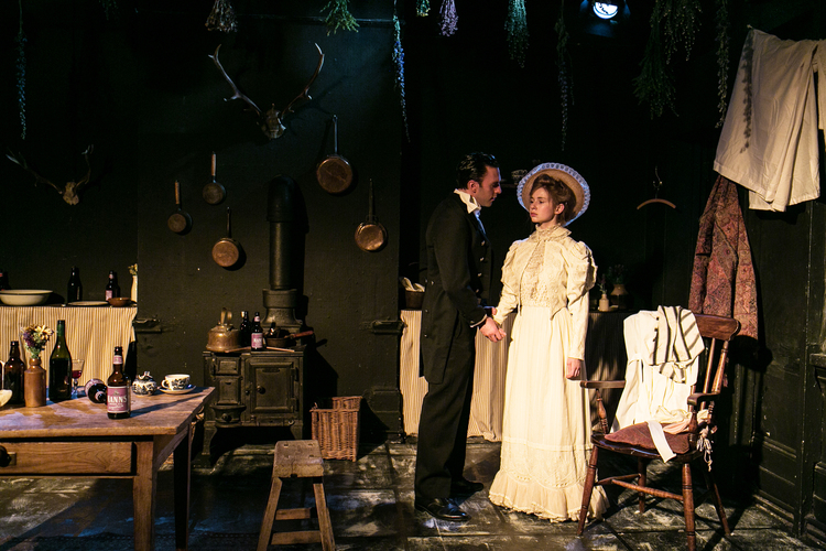 Miss Julie by August Strindberg | Etcetera Theatre | Directed by Gary Condes | Set & Costumes by Carla Goodman | Lighting by Joe Price (Photograph by Darren Bell)