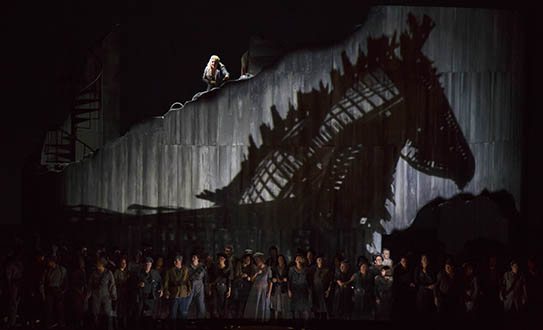 Les Troyens  | Lyric Opera of Chicago | Directed by Tim Albery | Set & Costumes by Tobias Hoheisel | Lighting by David Finn (Photograph by Ted Rosenberg)