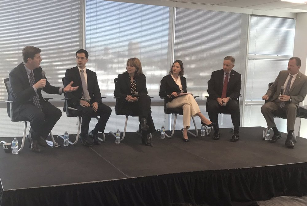 Phoenix Mayor Stanton speaks to the panel of smart city leaders (l-r Glenn Hamer, Sandra Watson, Chelsea Collier, Mesa Mayor John Giles, Scottsdale Mayor Jim Lane)
