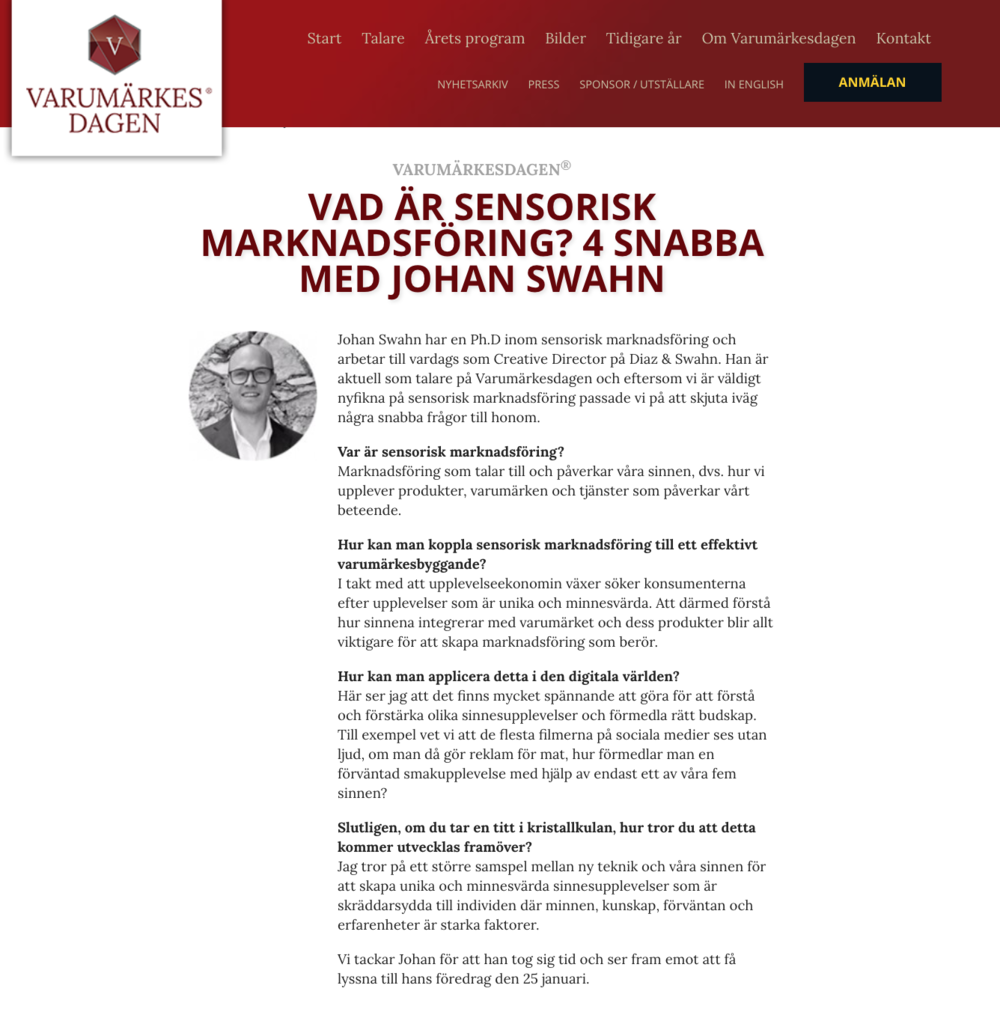 VARUMÄRKESDAGEN, January 2018