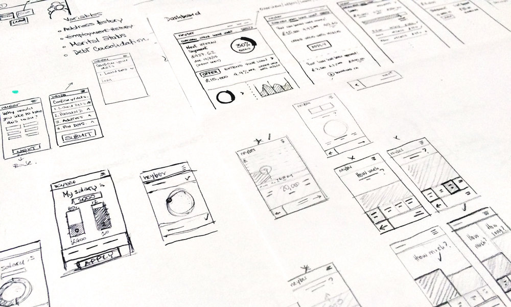 Sketches for mobile slider and dashboard