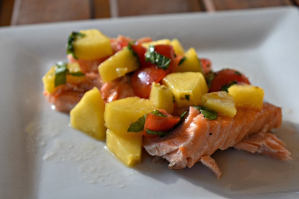 Grilled King Salmon with Peach Tomato Salsa