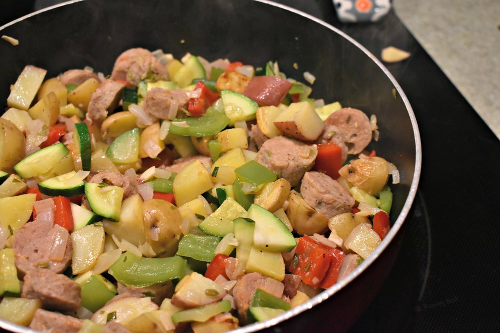 Summer Vegetables with Sausage & Potatoes