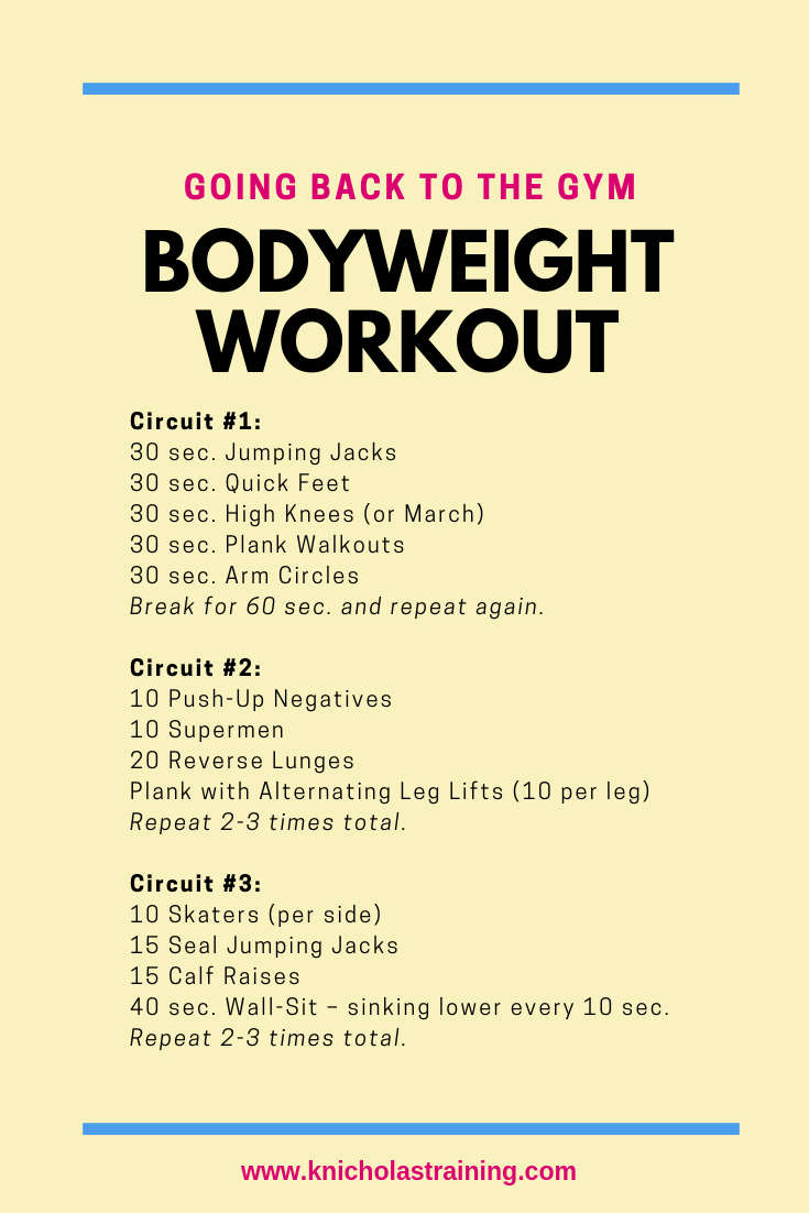 Back to the Gym Bodyweight Workout