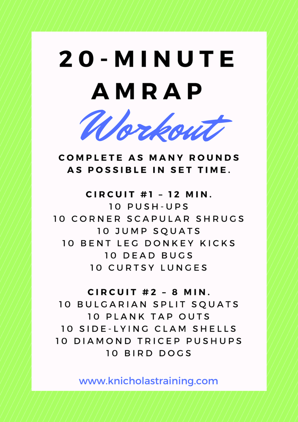 20 Min. AMRAP Workout