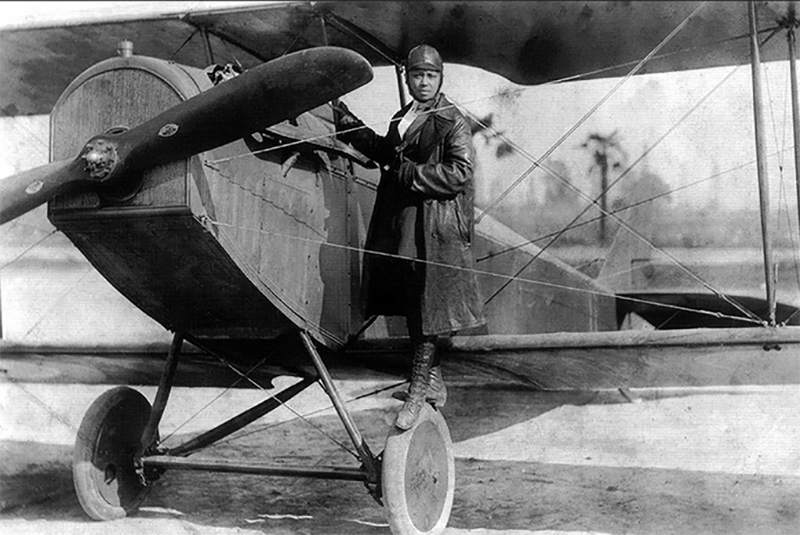 Bessie Coleman, the first African-American female pilot.