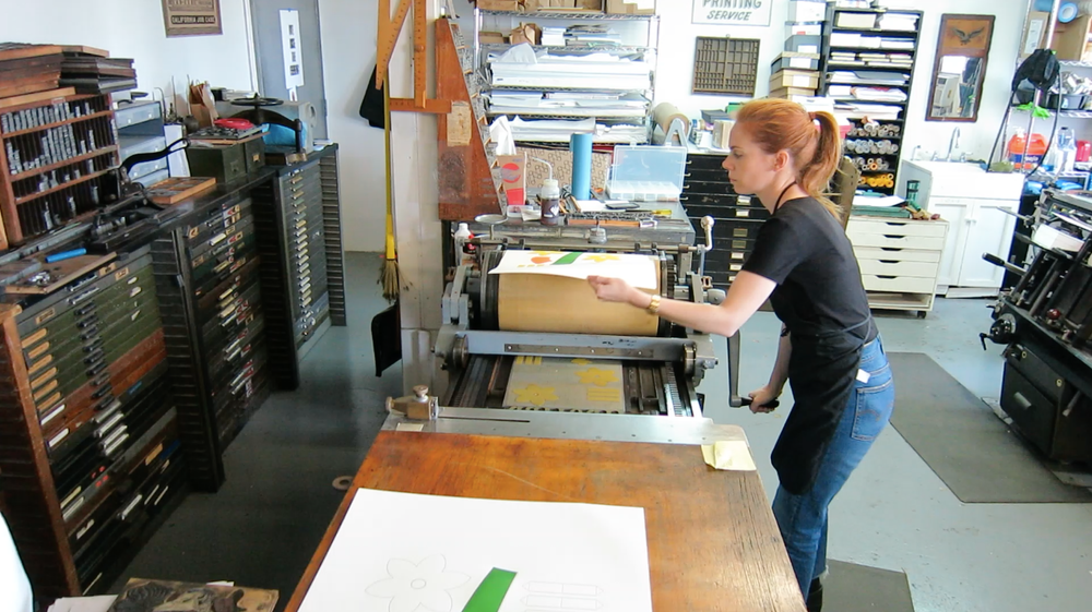 Frazier in the letterpress studio.