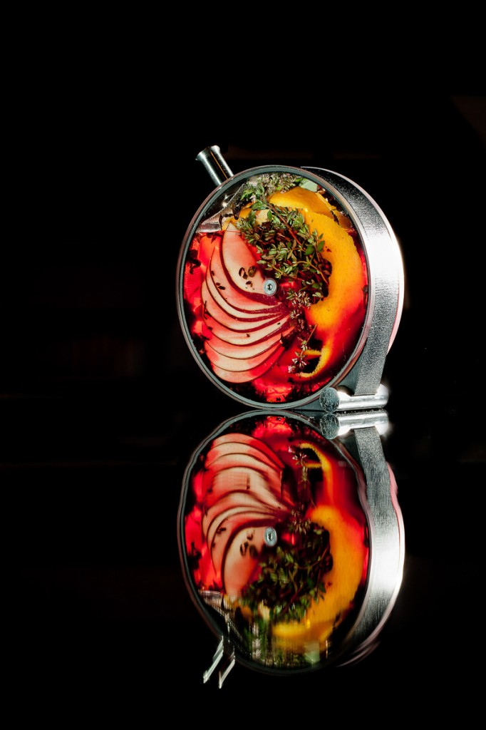 A cocktail from The Aviary served in Martin Kastner's cocktail infusion vessel, The Porthole.