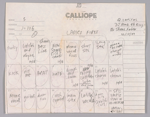 """Ladies First"" track sheet. Part of the National Museum of African American History and Culture's collection."