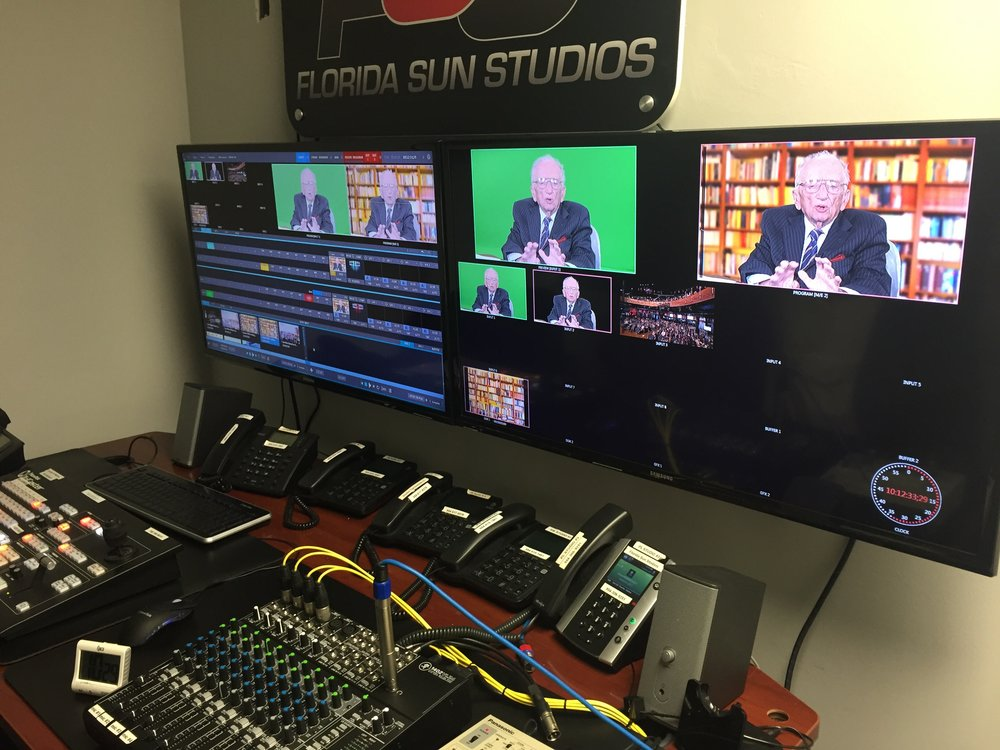 Control room at FSS our studio partners using the tricaster for green screen and encoding