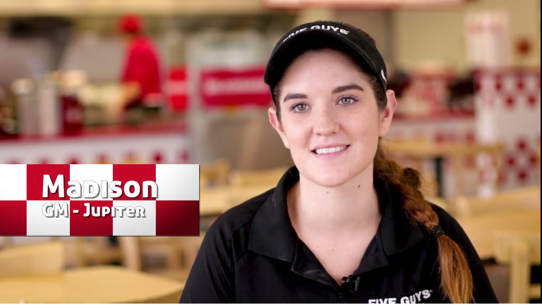 General Manager of Five Guys in Jupiter Florida, Madison Miller, shares her story