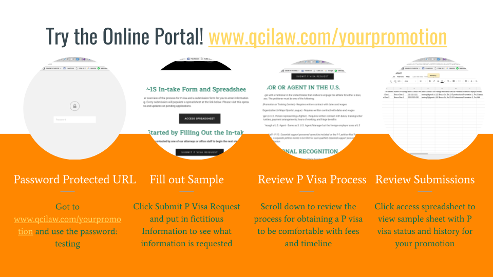 For more information about how the Promoter's Package can help you and your organization to obtain P visas, please contact us at 704-500-2075 or via email at  c  ombatsportsvisas@qcilaw.com .
