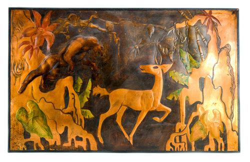 Large Original Embossed Copper Wall Art Signed Edward B. Kaufman ...
