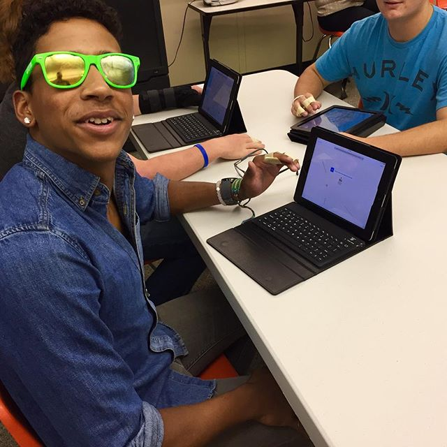 Sensitivity training simulation for our Spring Grove iPad mentors. We put chap stick on sunglasses to emulate blurred vision and taped fingers to limit dexterity #intergenerational