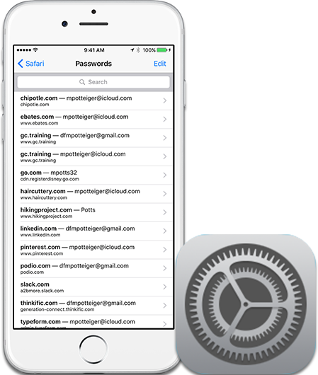 You can use iCloud Keychain to save passwords in the Settings app of your iPhone or iPad.