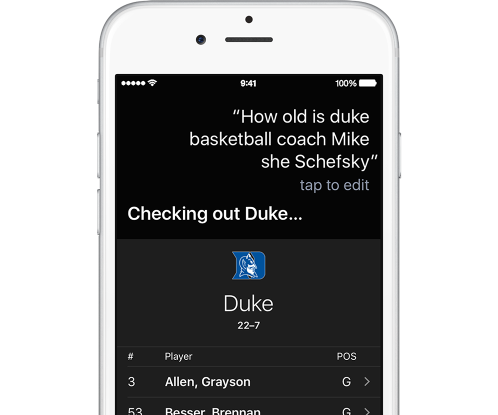 For example, she inaccurately transcribes basketball coach Mike Krzyzewski's name and searches for information about Duke, instead of the coach's age.