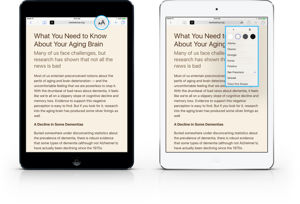 Learning the iPad. Activate Reader View and customize font size, style and background color