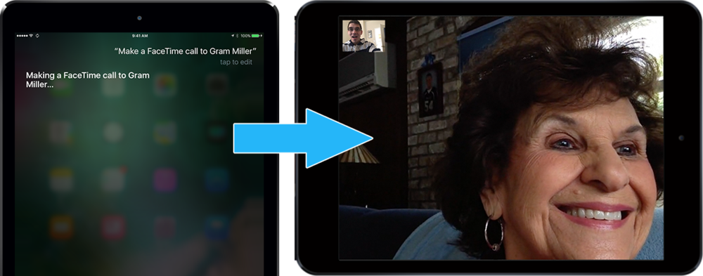 From any screen on your iPhone or iPad, ask Siri to call, text or FaceTime a specific person.