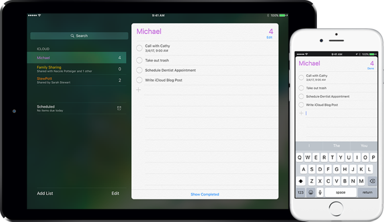 Syncing apps such as reminders can be extremely useful. Make a change on one device and it automatically appears on other devices connected to your Apple ID.