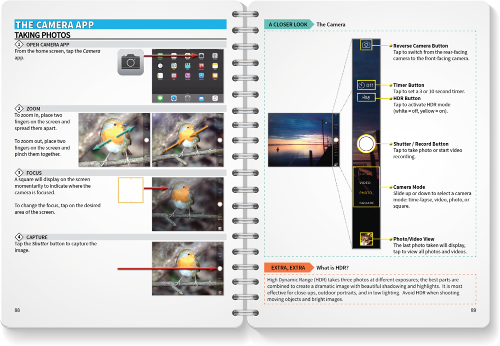 The iPad Getting Started Guide has 50+ step-by-step lessons with informative graphics.