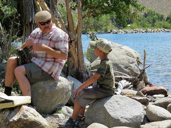 Me with my nephew, Kendall, at Convict Lake. Obviously some serious talk.