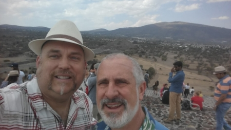 Me (l) and Randy (r) atop the Pyramid of the Sun outside Mexico City.