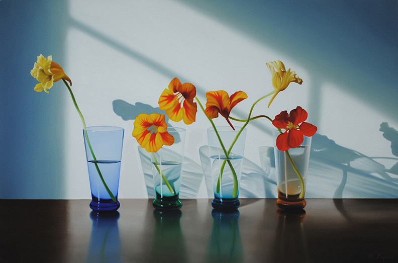 Nasturtiums in Four Glasses