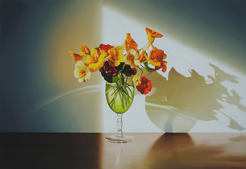 August (Nasturtiums in Green Glass)
