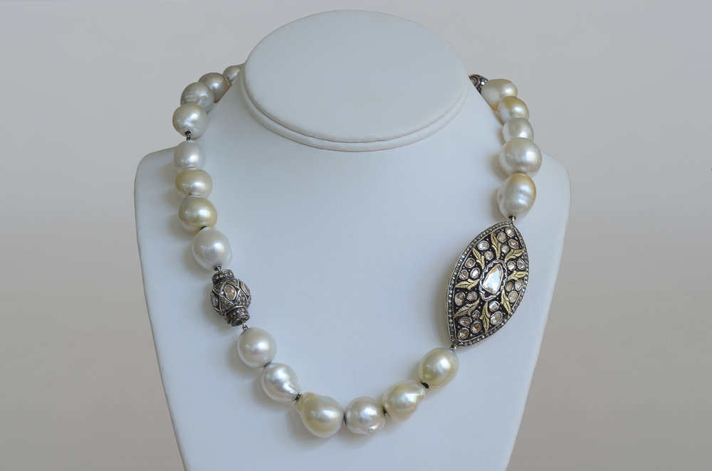 South Sea Pearl Necklace with 3.84 Carat Diamonds set in Sterling Silver with 18kt Gold Overlay