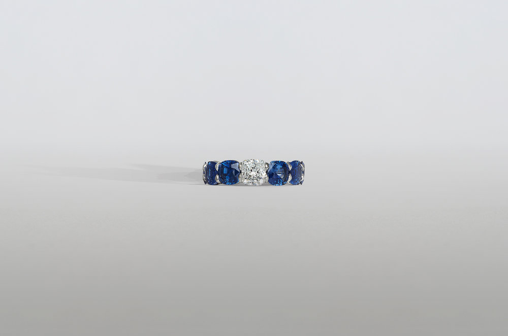 Cushion Sapphire and Diamond Eternity Band set in Platinum