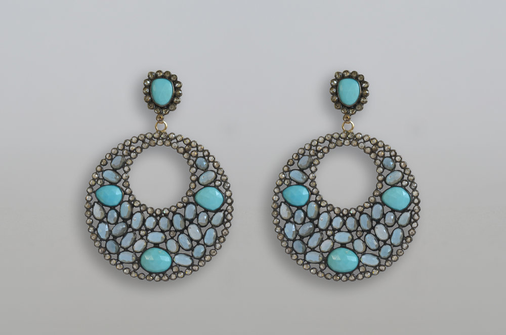 Turquoise, Blue Topaz and Diamond Earrings set in Sterling Silver with 18kt Gold Posts