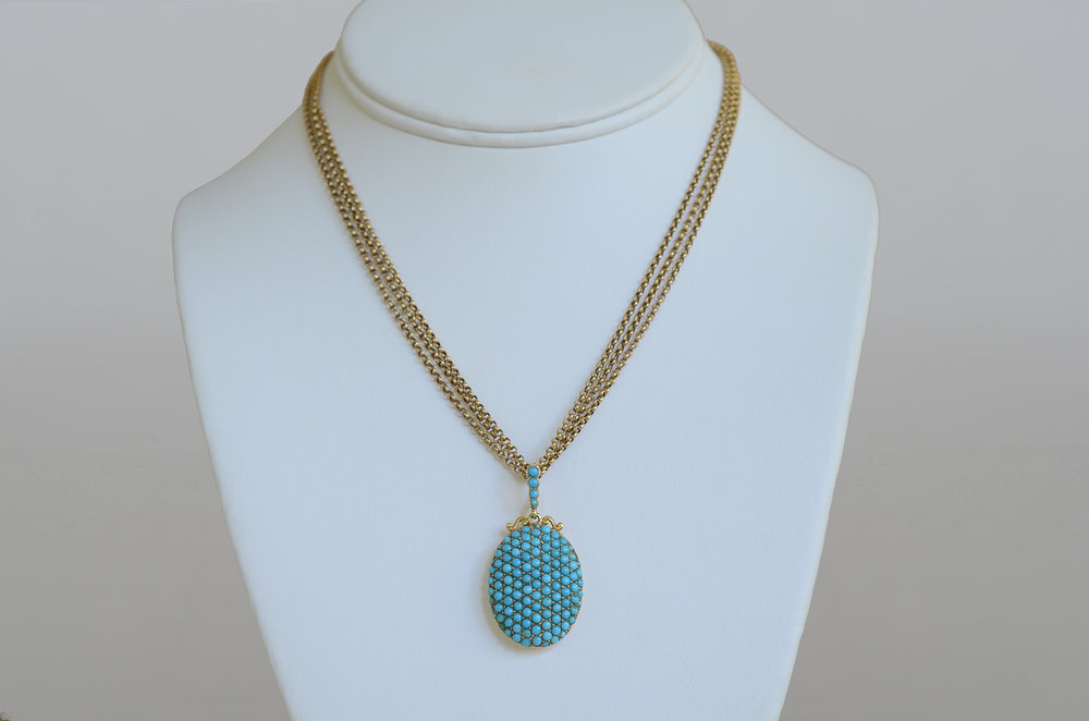 Victorian Turquoise Pendant with 18kt Vintage Gold Chain