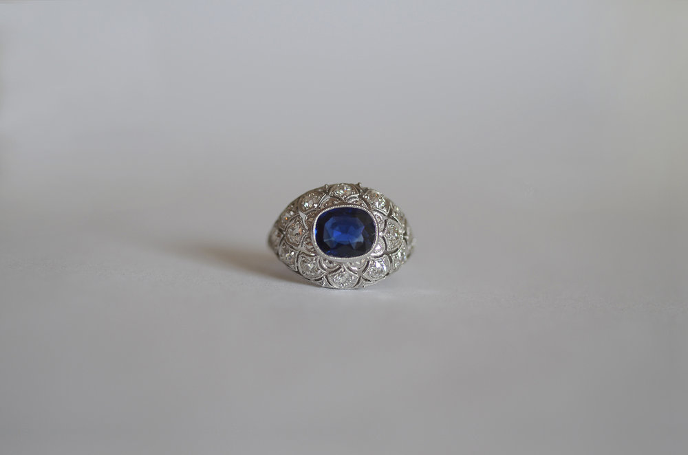 Approximately 2.0 Carat Sapphire and approximately 2.0 Carat Deco Diamond Ring set in Platinum
