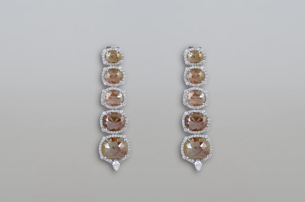 23.22 Carat Rough and Brilliant Cut Diamond Earring set in 18kt White Gold